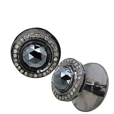 925 Sterling Silver 2.26ct Black Spinel Gemstone Cufflinks Men's GIFT FOR FATHER