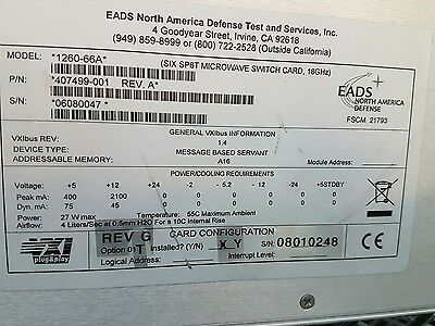 Racal Instruments 1260-66A Six SP6T Microwave Switch Card 18Ghz with Option 01T