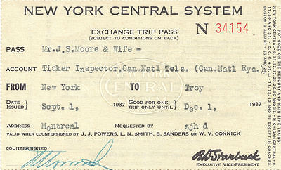 New York Central Trip Pass 1937