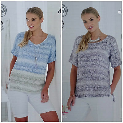 KNITTING PATTERN Ladies Short Drop Sleeve Round or V-Neck Top Vogue DK 4767