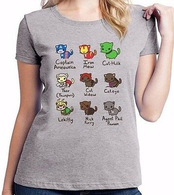 Cat Avengers Iron Man Marvel Captain America Comic Ladies T Shirt Top Tee