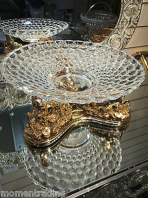 Crystal Fruits/Biscuits Glass Bowl with Gold Ceramic Horse statues Base