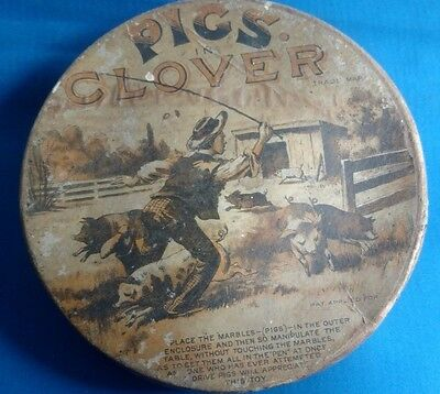 Antique PIGS IN CLOVER Crandall Waverly toys puzzle maze wood child game marble