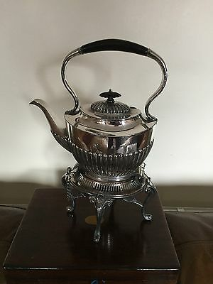Lovely Half Ribbed Silver Plated Spirit Kettle, Stand And Burner  (Some Wear)