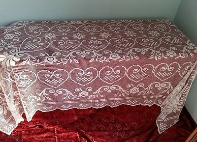 TOVAGLIA COPRITAVOLO PIZZO FILET RICAMATA  A MANO cm 270 - tablecloth filet lace