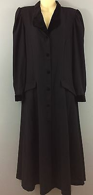 LAURA ASHLEY vintage black wool velvet trim riding coat jacket 14 Edwardian