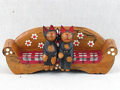Cats Sitting On The Sofa Hand Carved & Painted Rustic Wood Figure