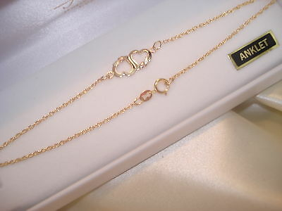 12K Solid Black Hills Gold 4 Leafs-On Two 10K Solid Gold Hearts Anklet-10 Inches