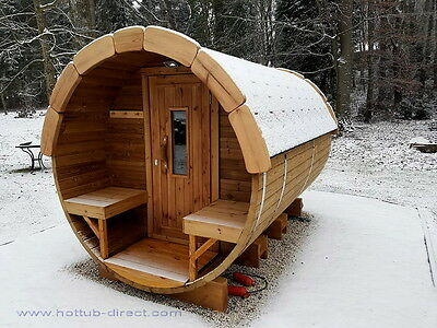 HotTub-direct NEW Barrel Sauna 2,4m long Thermo wood with electric heater
