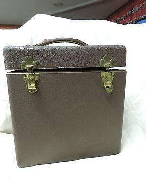 Vintage Brown Metal Eagle Lock Co. 78 RPM Phonograph Record Case w/ 50 Inserts