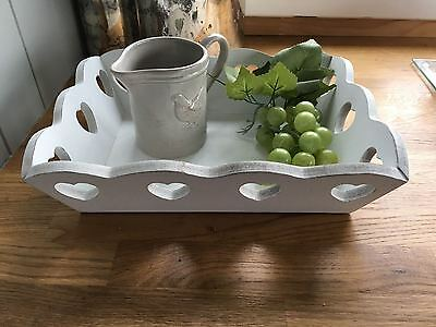 Small Chic White Wooden Shabby Tray with Hearts Cut Out,Tea for One Trinkets
