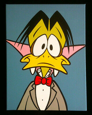 Count Duckula hand painted cartoon pop art painting on canvas Danger Mouse 80's