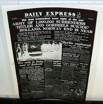 Hitler Goebbels Suicide London Daily Express May 3, 1945 Front Page Negative