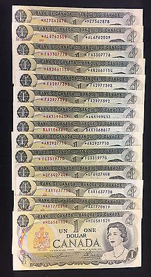 1973 Bank of Canada $1 - Lot of 14 Replacement Notes