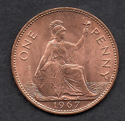 1967 UK (British) Queen Elizabeth II Coin - One Penny red/brown Unc