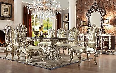 Homey Design HD-8017 Royal Antique White Silver Finish Dining Room Set 7Pcs