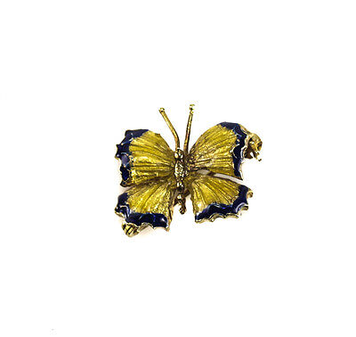18k Yellow Gold and Enamel Butterfly Pin, Signed. 6.35 grams