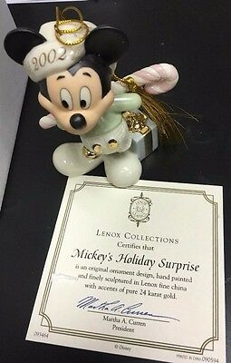 Lenox 2002 Mickey Mouse Christmas Ornament - Mickey's Holiday Surprise w/COA