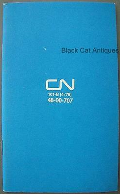 1978 Canadian National Railway Employee Lined Notebook 101-B (4/78) 48-00-707