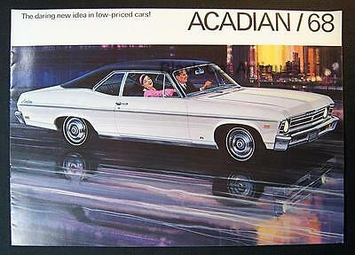 Original 1968 GM Canada Acadian 2-Door Coupe & 4-Door Sedan Car Dealer Brochure