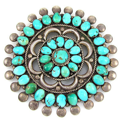 Huge Old Pawn Zuni L/M WEEBOTHEE Sterling Silver Turquoise Cluster Pin Pendant G