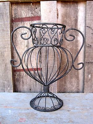 Vintage Wrought Iron Planter Home & Garden Plant Pot Stand Vessel Holder Rack