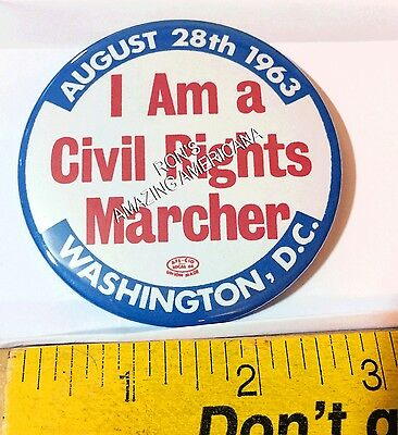 REPRODUCTION - Historic I Am Civil Rights Marcher Button Pin: Washington DC 1963