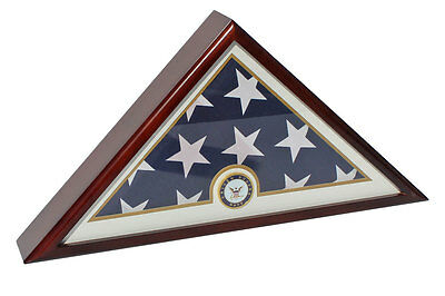 U.S NAVY Memorial Funeral Size 5'X9.5' FLAG Display Case-Solid Wood-FC69-MA