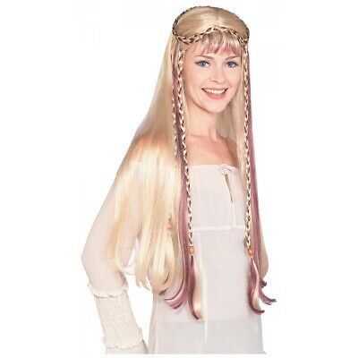 Medieval Maiden Costume Wig Adult Women Blonde Braids Renaissance Lady Halloween