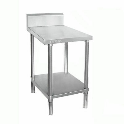 Prep Bench w Undershelf & Splashback Full Stainless Steel 300x700x900mm Kitchen