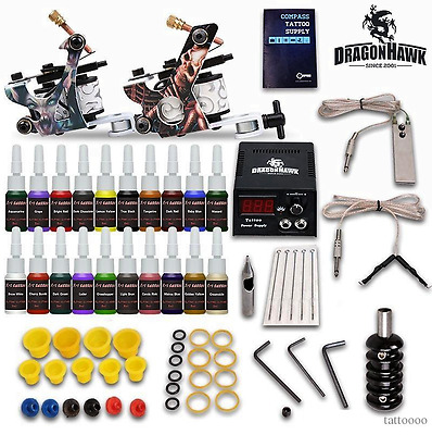 Complete Tattoo Kit needles 2 Machine Gun Power Supply 20 Color Ink