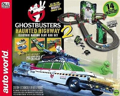 Autoworld RS317 HO Ghostbusters Haunted Highway Slot Car 14' Racing Set