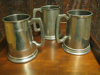 3  Pewter Tankards Glass Bottom  Engraved  Canadian Military Personnel