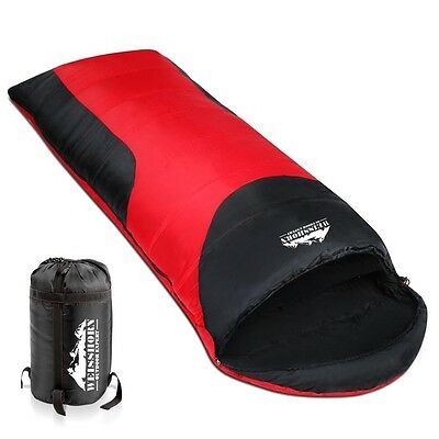 NEW -10 to +15°C Compact Single Outdoor Camping Envelope Sleeping Bag Red Black