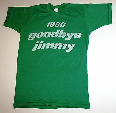 """Vintage Reagan Campaign T-Shirt """"1980 Goodbye Jimmy"""" Size Small"""