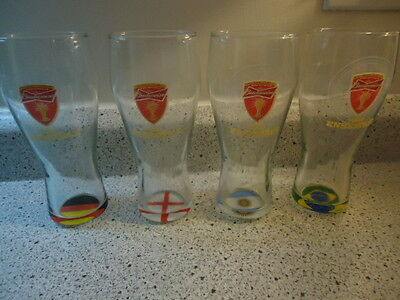 Budweiser Tall Glasses Fifa Soccer Lot Of 4 Tous Ensemble (#b3
