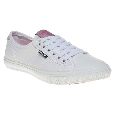 New Womens Superdry White Low Pro Canvas Trainers Lace Up
