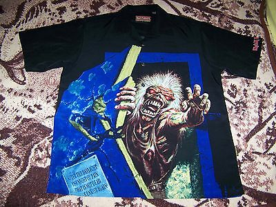 Vtg Iron Maiden NO PRAYER FOR THE DYING Dragonfly Button Dress Collar Shirt L