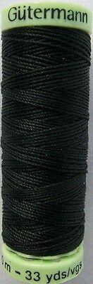 BLACK (000) Gutermann Top Stitch Button Sewing Thread 30m Reel, Extra Strong