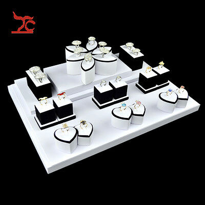 White PU Lover's Ring Holders Jewelry Display Showcase for Decorative Closet