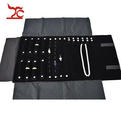 Velvet Jewelry Display Ring Necklace Pendant Studs Organizer Storage Roll Bag