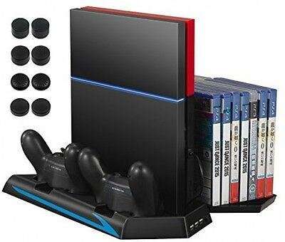 Amir Cooler for PS4, Vertical Stand Cooling Fan, Dual Charging Station with 3 4