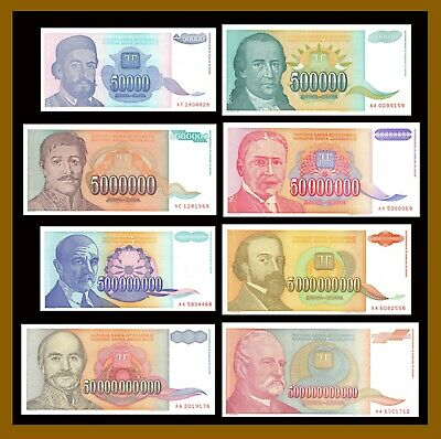 Yugoslavia 50 Thousand to 500 Billion Dinara (8 Pcs Set), 1993 P-(130-137) Unc