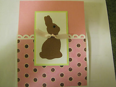 Fun Pop up Chocolate Bunny Happy Easter/Wishes/Spring Handmade Card Kit Lot 4
