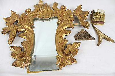 Vintage Architectural Salvage Lot Collection Antique Mirror Wooden Ornate Old