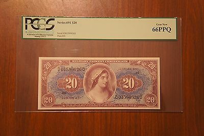 MPC Series 691 $20 PCGS Gem New 66PPQ. UNC Military Currency