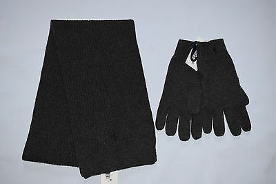NWT Ralph Lauren Youth Boy's Cable Knit Scarf and Gloves Set Size 8-20