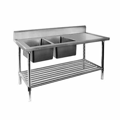 Sink, Left Double Bowl with Pot Shelf, Full Stainless Steel, 1800x700x900mm