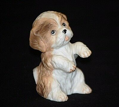 Old Vintage Homco Norfolk Terrier Puppy Dog Bisque Figurine 1467 Shadowbox