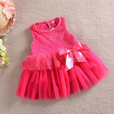 Girls Dress Floral print with Bow Lace Tulle TuTu Party Birthday 1-7 years